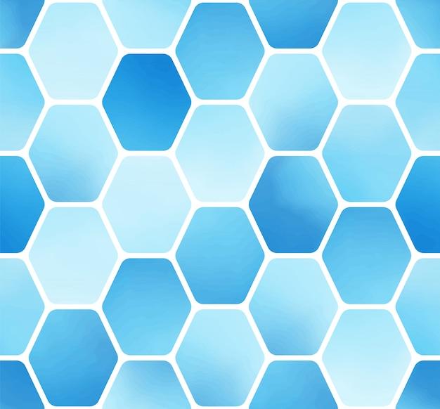 Padrão sem emenda de bloco de hexágono aquarela azul simples mínimo