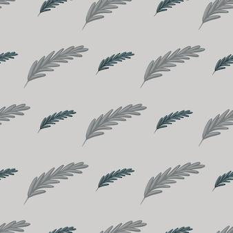 Padrão sem emenda de boho em estilo pálido cinza com formas de penas. ornamento abstrato mão desenhada da natureza. perfeito para design de tecido, impressão têxtil, embalagem, capa. ilustração vetorial.