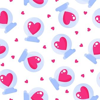 Padrão sem emenda de bola de vidro com coração para o casamento ou dia dos namorados.