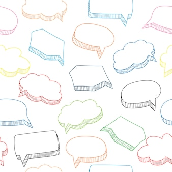 Padrão sem emenda de bolhas de discurso de desenho animado, ilustração vetorial