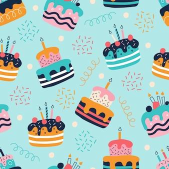 Padrão sem emenda de bolos coloridos brilhantes em estilo doodle plano