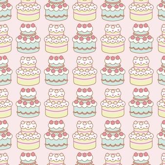 Padrão sem emenda de bolos de aniversário fofo