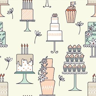 Padrão sem emenda de bolos. ilustração