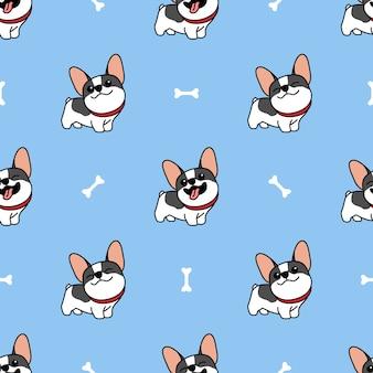 Padrão sem emenda de bonito bulldog francês dos desenhos animados
