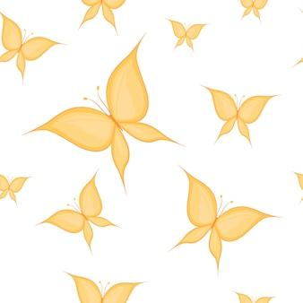 Padrão sem emenda de borboletas de silhueta desenhada à mão. ilustração vetorial.