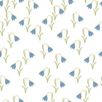 Padrão sem emenda de botânica com estampa de ornamento de campainha azul brilhante