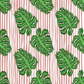 Padrão sem emenda de botânica com ornamento de doodle em folha de palmeira verde. fundo listrado rosa.
