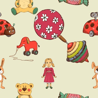 Padrão sem emenda de brinquedos de bebê, whirligig e elefante e boneca.
