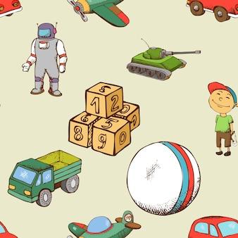 Padrão sem emenda de brinquedos para crianças. criança de fundo com bola e carro.