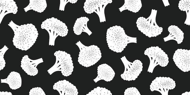 Padrão sem emenda de brócolis de cor desenhada de mão. ilustração de vegetais frescos orgânicos
