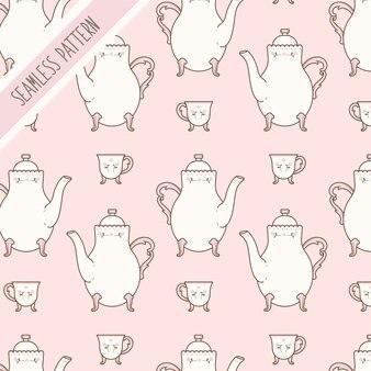Padrão sem emenda de bule e xícara de chá rosa