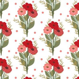 Padrão sem emenda de buquê de flor rosa vermelha romântica
