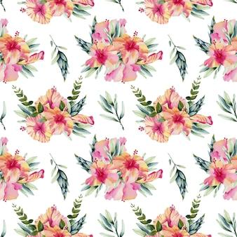 Padrão sem emenda de buquês de flores em aquarela de hibisco