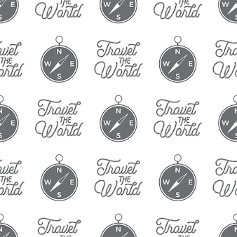 Padrão sem emenda de bússola de viagem. viajar o design de padrão de papel de parede do mundo