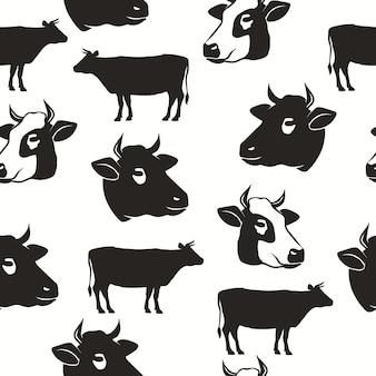 Padrão sem emenda de cabeça de vaca, silhueta de touro, backround de carne, cenário de design tipográfico de agricultura. vetor
