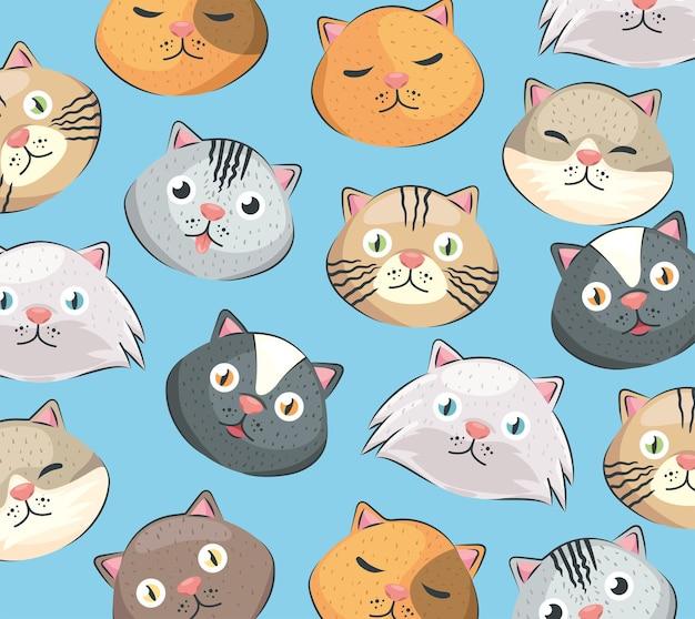 Padrão sem emenda de cabeças de gatos