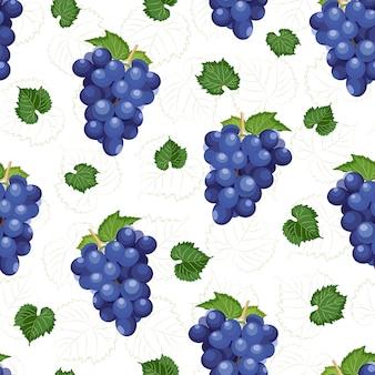 Padrão sem emenda de cacho de uva em fundo branco com folhas