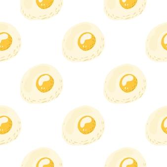 Padrão sem emenda de café da manhã com ornamento de omelete. refeição com ovos em tons pastéis com gema amarela