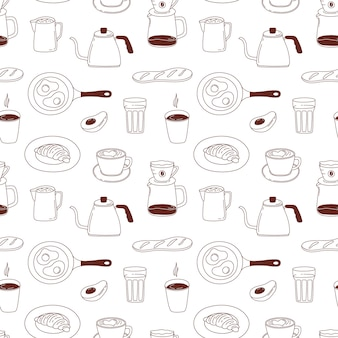 Padrão sem emenda de café. textura para o menu de café, papel de embrulho de loja.