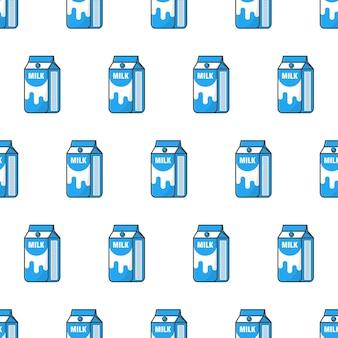 Padrão sem emenda de caixas de caixa de leite. ilustração do tema do produto com leite bebendo