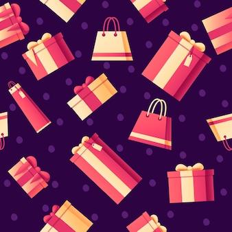 Padrão sem emenda de caixas de presente e sacolas de compras com ilustração em vetor plana padrão abstrato de cores suaves em fundo escuro.