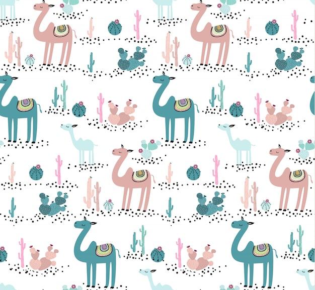 Padrão sem emenda de camelo e cacto. cute animal criativa textura infantil