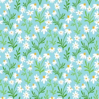 Padrão sem emenda de camomila e margarida design de impressão de flores silvestres com flores desenhadas à mão