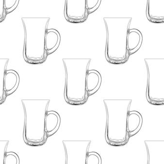 Padrão sem emenda de caneca de café. copo de vidro de mão desenhada.