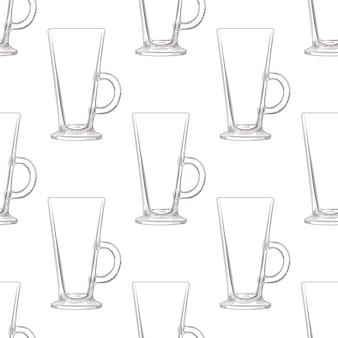 Padrão sem emenda de caneca de café irlandês. copo de vidro de mão desenhada.