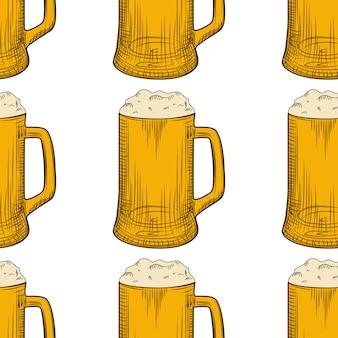 Padrão sem emenda de caneca de cerveja. copos de cerveja cheios com espuma.