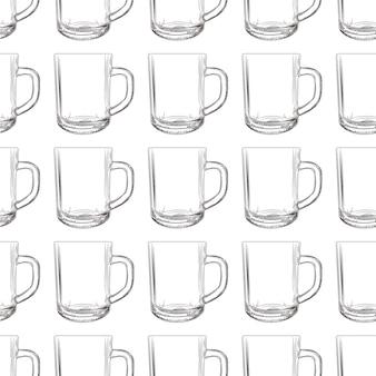 Padrão sem emenda de caneca de chá. copo de vidro de mão desenhada.