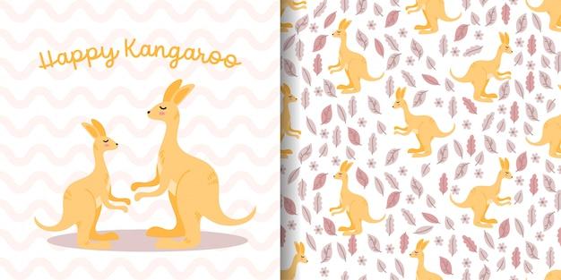 Padrão sem emenda de canguru bonito com cartão de chuveiro de bebê de desenhos animados de ilustração