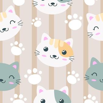 Padrão sem emenda de cara de gato adorável
