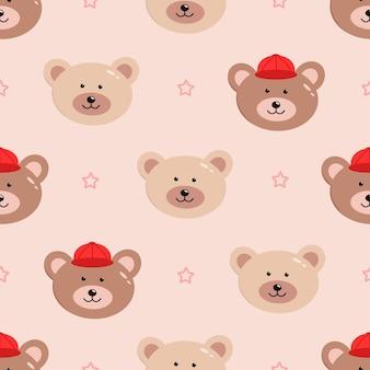 Padrão sem emenda de caras engraçadas de urso