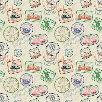 Padrão sem emenda de carimbos de viagem passaporte vintage