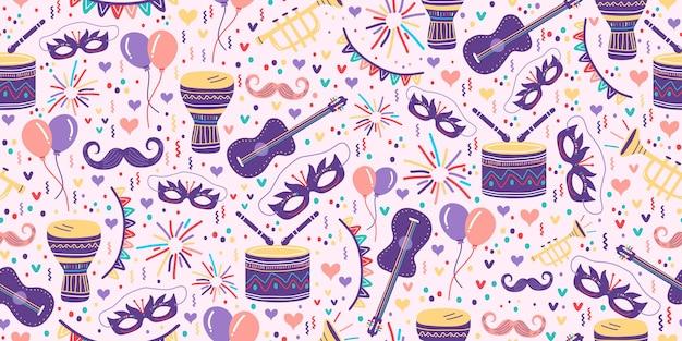 Padrão sem emenda de carnaval com desenho de festa junina