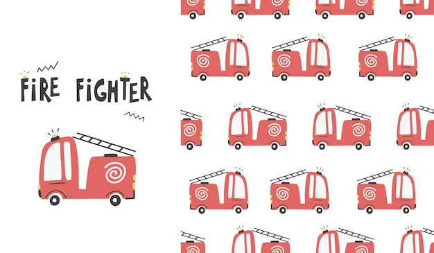 Padrão sem emenda de carros de bombeiros bonito. ilustração em vetor bebê em papel digital estilo escandinavo simples desenhado à mão.