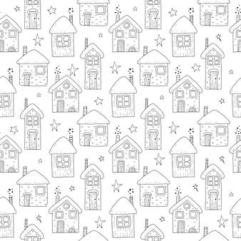 Padrão sem emenda de casas de férias de natal. ilustração do desenho da mão.