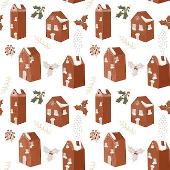 Padrão sem emenda de casas vermelhas escandinavas e galhos de árvores de azevinho