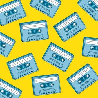 Padrão sem emenda de cassetes do projeto de ilustração vetorial estilo retro dos anos noventa