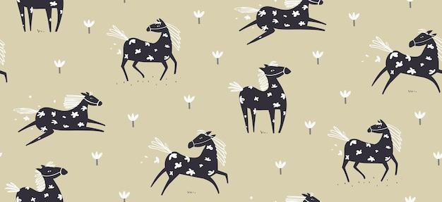 Padrão sem emenda de cavalo selvagem abstrato com flores escandinavo