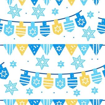 Padrão sem emenda de celebração de hanukkah com guirlanda e estrela de david