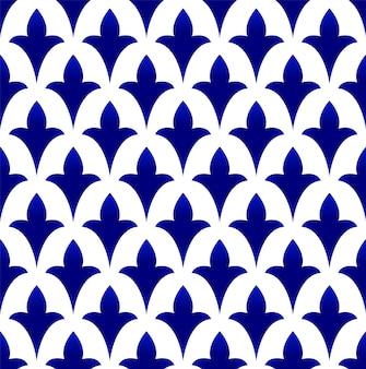 Padrão sem emenda de cerâmica azul e branca