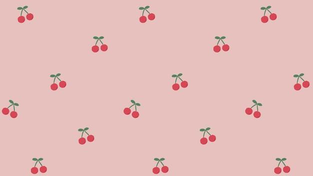 Padrão sem emenda de cereja desenhada de mão vermelha no modelo social rosa