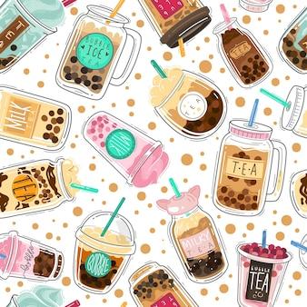 Padrão sem emenda de chá de bolhas. boba taiwanesa com bolas de tapioca, chá de leite de pérola, têxtil de design criativo de bebida fria popular asiática, papel de embrulho, textura vetorial de papel de parede isolada no fundo branco