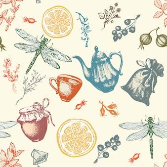 Padrão sem emenda de chá de ervas