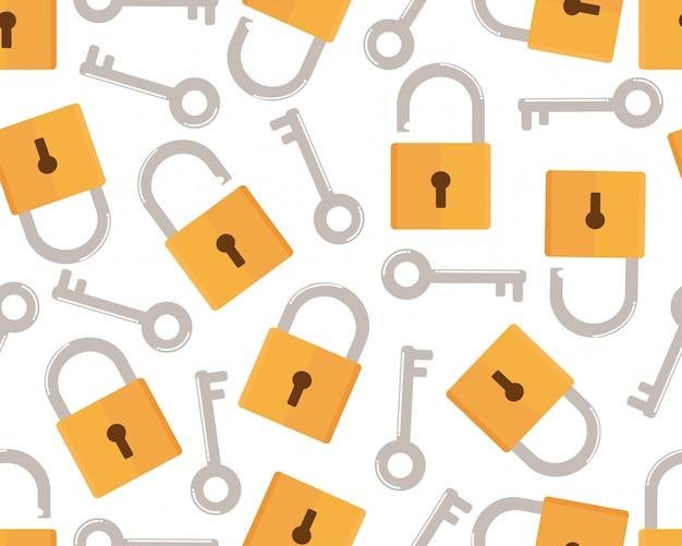 Padrão sem emenda de chave e cadeado estilo plano de ícone