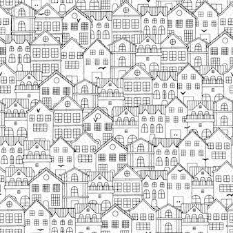 Padrão sem emenda de cidade com casas de mão desenhada.