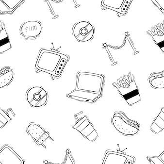 Padrão sem emenda de cinema bonito com mão desenhada ou estilo doodle
