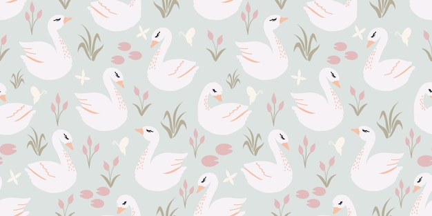 Padrão sem emenda de cisne bonito bonito